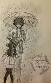 anime couples hugging in the rain drawings drawing of sketch