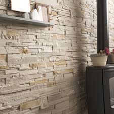 parement bois mural plaquette de parement béton beige nuancé santorin leroy merlin