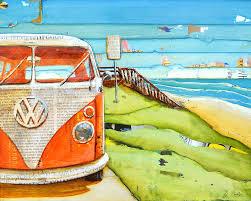 volkswagen beach volkswagen van bus vw beach art print or canvas classic