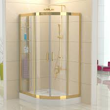Gold Shower Doors 2015 Sus304 Stainless Steel Sector Gold Shower Cabin With