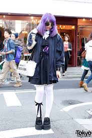 halloween thigh highs creepers corset thigh highs purple hair u0026 horror makeup in harajuku