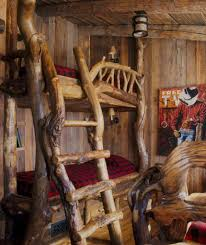 Cowboy Bunk Beds Cabine Themed Bedroom With Rustic Style Ideas Also Wooden Log Bunk