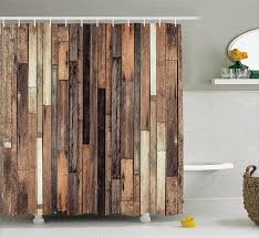 Graphic Shower Curtains by Amazon Com Wooden Shower Curtain Set By Ambesonne Brown Old
