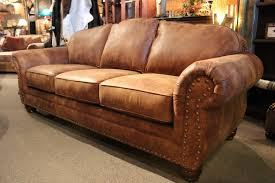 Pigmented Leather Sofa Andrew Leather Sofa With Antiqued Nailhead Trim Sofas