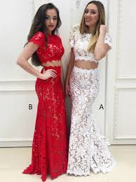 white lace prom dress buy two mermaid neck sleeves white lace prom