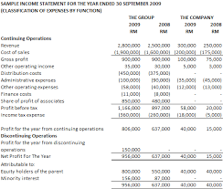 sample income statement format