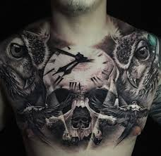 chest with skull clock owls chest side tattoos