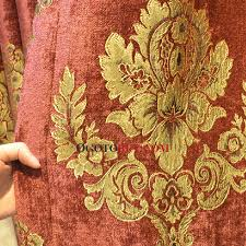 Red And Gold Damask Curtains Festival Red And Gold Colors Luxury Chenille Blackout Curtain Buy