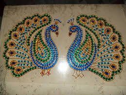 craft work for home decoration kundan rangoli peacock design a4 size for sale decor ideas
