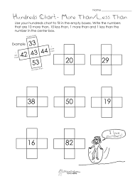 10 more than 10 less than hundreds chart worksheet squarehead