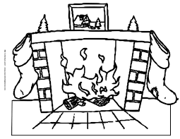 drawn fireplace christmas coloring page pencil and in color