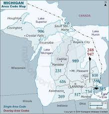 area code map of michigan area code map