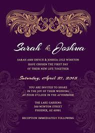 wedding invitation purple gold printable wedding