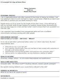 stay at home resume template cv exle for stay at home icover org uk