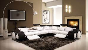 modern black and white leather sectional sofa 4087 black and white half leather sectional sofa with recliners
