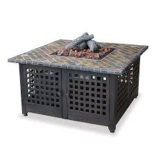 shop blue rhino 41 3 in w 40000 btu slate tile iron liquid propane