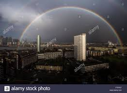 uk 28th march 2016 uk weather colourful rainbow breaks
