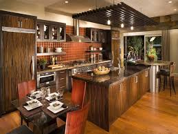 modern kitchen design with faux red brick backsplash and track