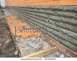 building foundation waterproofing building new house stock photo