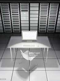 empty desk in network server room stock photo getty images