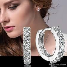 small diamond hoop earrings 2015 new design 925 sterling silver small swiss cz diamond hoop