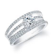 semi mount engagement rings natalie k 18k white gold split shank pave semi mount