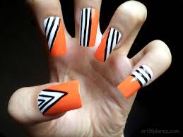 bold orange with duo stripes nailart artxplorez