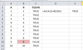 excel compare two tables find only matching data how to quickly check if two columns in excel are equivalent in value