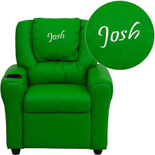 Toddler Recliner Chair Personalized Green Vinyl Kids Recliner D Dg Ult Kid Grn Txtemb