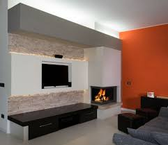 modern fireplace with arabesque marble polished and bricked