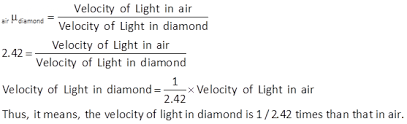 the refractive index of is 2 42 what is meant by this