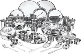 Silver Dinner Set Online Shopping India Buy Kraft Premium Dinner Set 63 Pieces Online At Low Prices In