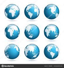 Earth Globe Map World by Earth Globe World Map Set Planet With Continents Africa Asia