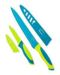 core kitchen blue u0026 green paring and carving knife set home