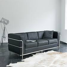 Wallace Sacks Le Corbusier LC Inspired  Seater Sofa In Black Leather - Corbusier sofas