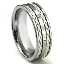 ceramic gold rings images Tungsten carbide silver rope wedding band ring jpg