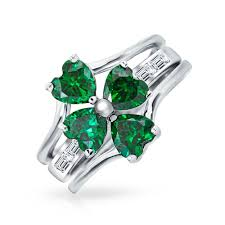 rock silver rings images Simulated emerald four leaf clover sterling silver stacked rings jpg