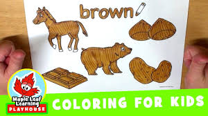 brown coloring page for kids maple leaf learning playhouse youtube