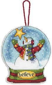 dimensions believe snowglobe ornament cross stitch