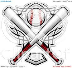 clipart crossed bats and a baseball over a home plate royalty