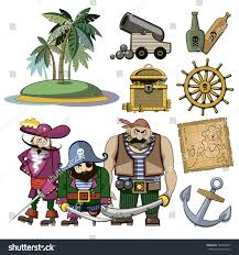 Treasure Map Clipart Vector Pirate Characters Set Cartoon Style Stock Vector 329440691