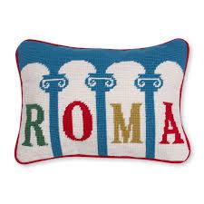 roma needlepoint throw pillow throw pillows jonathan adler