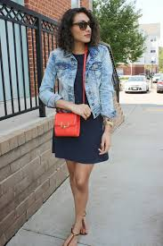 women u0027s light blue acid denim jacket navy shift dress dark brown