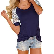 fashion lace patchwork t shirt women summer casual tshirt short