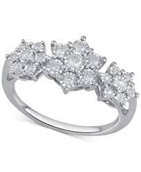cluster rings diamond cluster ring 1 4 ct t w in sterling silver