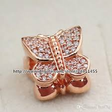 sterling silver charm bead bracelet images 2018 925 sterling silver rose gold plated sparkling butterfly jpg