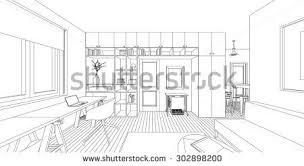 outline sketch interior living room stock vector 302898200