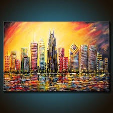 24x36 original chicago windy city skyline by fariasfineart on 385 00