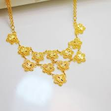 wholesale atmospheric noble flower necklace 24k gold plated