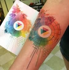 40 wonderful watercolor tattoos for women color wheels mandala